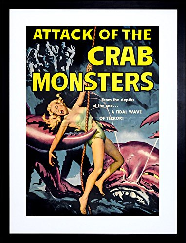 9x7-INCH-MOVIE-FILM-ATTACK-CRAB-MONSTERS-SCI-FI-MONSTER-HORROR-FRAMED-WALL-ART-PRINT-PICTURE-PAINTING-WOODEN-PHOTO-FRAME-BLACK-WHITE-OAK-BROWN-F97X532-0