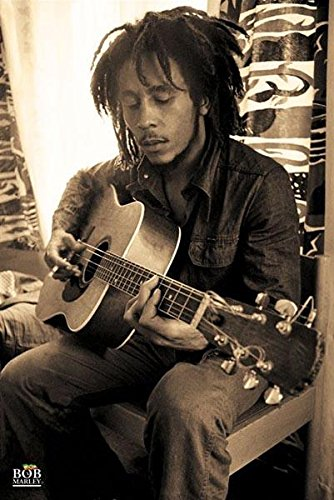 Bob-Marley-Playing-Guitar-in-Sepia-Music-Poster-Print-24-by-36-Inch-0