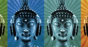 Buddha-Buddah-Wearing-Headphones-Quad-Decorative-Music-Art-Poster-Print-12x36-0