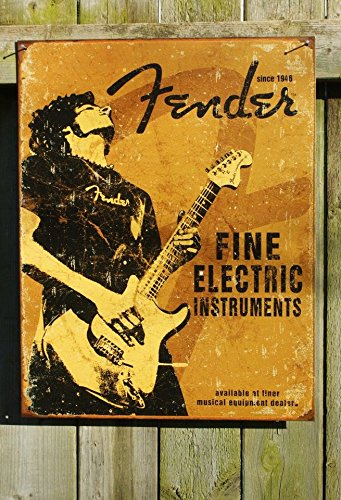 Electric Man Cave Signs : Sgm tsn fender rock on classic poster collector