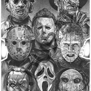 Horror-Nights-Movie-Villains-Scariest-Halloween-Decoration-Ever-Original-Sketch-Prints-All-Time-Favorite-Evil-Guys-Michael-Myers-Pinhead-Chucky-Jason-Freddy-Krueger-Scream-Leatherhead-0