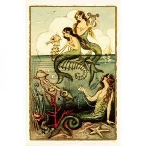Mermaids-Three-Mermaids-Art-Print-Poster-11x17-custom-fit-with-RichAndFramous-Black-11-inch-Poster-Hangers-0