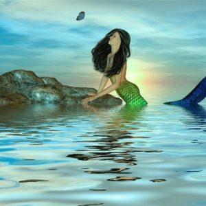 PAINTING-CGI-MERMAID-OCEAN-SEA-BUTTERFLY-SURREAL-FANTASY-30x40-cms-POSTER-PRINT-BMP10832-0