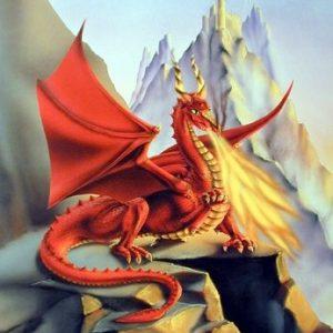 Red-Fire-Dragon-Sue-Dawe-Fantasy-Wall-Decor-Art-Print-Picture-8x10-0