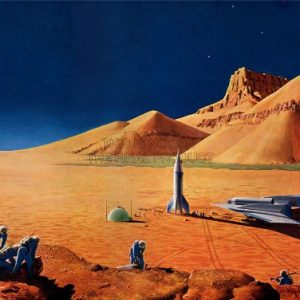 SCIENCE-FICTION-LANDSCAPE-DESERT-SPACE-SHIP-ROCKET-PLANE-POSTER-PRINT-BB7316B-0