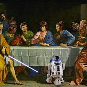 STAR-WARS-LAST-SUPPER-art-poster-FUNNY-ICONIC-R2D2-collectors-valuable-24X36-0