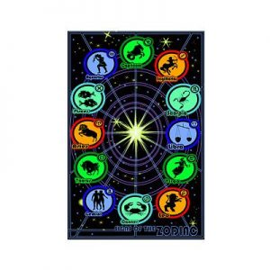 Signs-of-the-Zodiac-Horoscope-Chart-Blacklight-Art-Print-Poster-24x36-custom-fit-with-RichAndFramous-Black-24-inch-Poster-Hangers-0