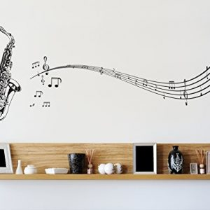 Stickerbrand-Music-Vinyl-Wall-Art-Saxophone-with-Music-Notes-Wall-Decal-Sticker-Black-72-x-31-Easy-to-Apply-Removable-Includes-FREE-Application-Squeegee-0