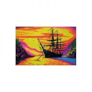 Sunset-Bay-Ship-Flocked-Blacklight-Poster-Art-Print-24x36-custom-fit-with-RichAndFramous-Black-36-inch-Poster-Hangers-0