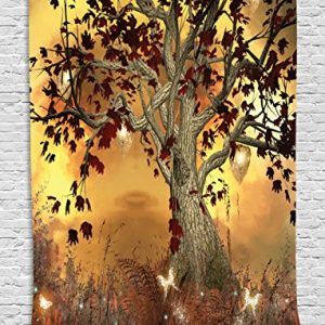 Wall-Art-Decor-Old-Twisted-Tree-Fairy-Scene-Butterflies-Wings-Enchanted-Forest-Nature-Fantasy-Imaginary-Mystic-Wonderland-Tapestry-Hanging-Wildlife-Living-Room-Dorm-Decor-Brown-Burgundy-Yellow-0