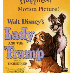 Walt-Disneys-Lady-and-the-tramp-MOVIE-POSTER-1955-24X36-VINTAGE-CARTOON-reproduction-not-an-original-0