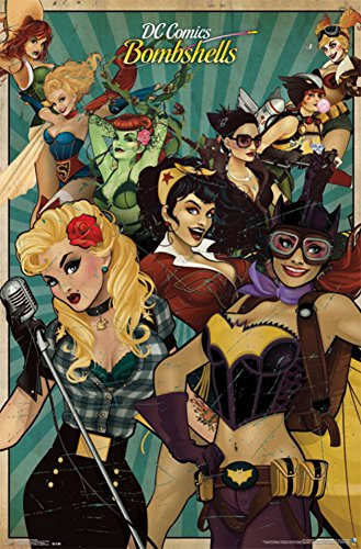 DC-Comics-Bombshells-Poster-Print-Wonder-Woman-Supergirl-Harley-Quinn-Poison-Ivy-Size-22x34-0