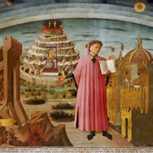 Domenico-di-Michelino-Dante-and-his-Poem-the-Divine-Comedy-1465-Dante-and-the-Three-Kingdoms-ReligiousBiblical-Fine-Art-PrintPoster-Size-A3-42cm-x-297cm-0